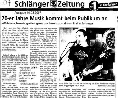 Wishbone Project in der Presse am 16.03.2007